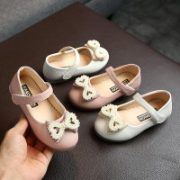 ✨ perfect ❀ Baby Girl Anti-Slip PU First Walkers Pearl Bow Shoes