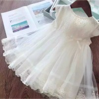 DRESS PESTA ANAK IMPORT MURAH ORGANDI LACE WHITE