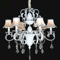 Lampu gantung kristal CRYSTAL WHITE CANDLES cabang 6 ARMS chandelier