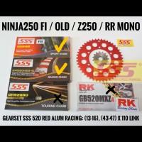 GEARSET/GIRSET/GIR SSS 520 RED NINJA250R/FI/Z250/RR MONO RANTAI HSBT