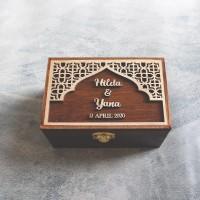 Ring Box Rustic Kayu 15x10   Kotak Perhiasan Mahar Pernikahan