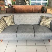 sofa 3 seater scandinavian retro kaki kayu asli HERA