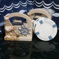 Wooden Coaster/Tatakan Gelas Tema Nautical Sea,cocok u/suvenir,jrg ada