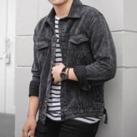 Jaket Jeans Pria Marun / Jaket Denim Pria Original | Emoline - Merah Marun, L