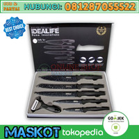 IDEALIFE KNIFE SET #IL-160 (Black CERAMIC ANTI BAKTERI PISAU SET TAJAM