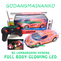 Mobil RC Remote Control / Remot / Radio Kontrol LED Full Body Ferrari - Lambo Orange