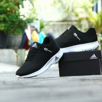 Sepatu Sport Casual Adidas Neo Running - Hitam Putih - Kets Pria - 39