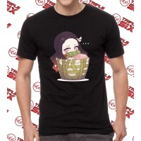 Kaos Tshirt Anime Nezuko Basket Chibi Kimetsu no yaiba demon slayer