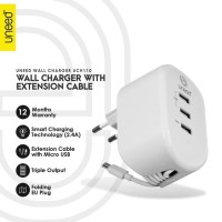 UNEED Smart Travel Charger Fast Charging 3 USB Port - UCH110 - Putih