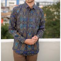 Kemeja Batik Pria Panjang Songket Tosca Hitam Purple Original