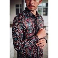 Kemeja Batik Panjang Pria Etnic Coklat Maron Hitam Navy Original