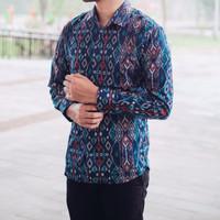 Kemeja Batik Panjang Pria Etnic Maron Hitam Coklat Navy Original