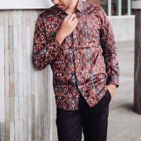 Kemeja Batik Panjang Pria Etnic Navy Coklat Maron Hitam Original