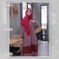 ELORA DRESS LADY RED BY KHAIYA /GAMIS SAJA /GAMIS MOTIF KOTAK