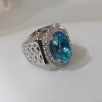 cincin batu permata NATURAL BLUE TOPAZ kualitas super