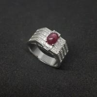 cincin batu permata NATURAL RUBY STAR super istimewa