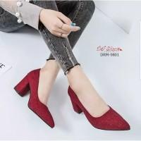 high heels sepatu kerja wanita formal pantofel maroon sol karet tm04dw