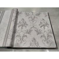 Wallpaper Vinyl Timbul Bertekstur Klasik Abu Mewah