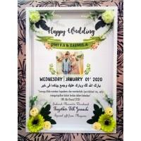 Hadiah Pernikahan Frame Box A3 Dengan Bunga Kado Pernikahan Pigura 3D