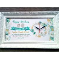 Hiasan jam dinding unik vintage untuk kado pernikahan kaligrafi