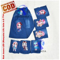 Rok Anak Jeans LOL LED (Bisa Menyala) Untuk usia 5-8 tahun