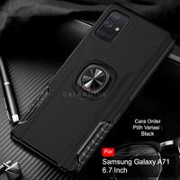 Calandiva Samsung Galaxy A71 Hard Case Casing Ring Thunder Hybrid