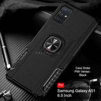 Calandiva Samsung Galaxy A51 Hard Case Casing Ring Thunder Hybrid