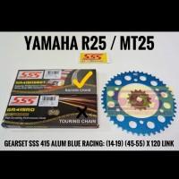 GEARSET/GIRSET/GIR SET SSS 415 BLUE R25/MT25 RANTAI SSS GOLD HSB2T