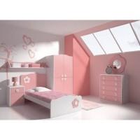 Set Kamar Anak Perempuan Pink - Bed Set Ranjang Tempat Tidur Anak Kayu