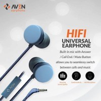 Earphone AVEN N18 BLUE - Sport Nylon Headset cable Premium Sound biru