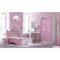 Set Ranjang Tempat Tidur Kamar Anak Minimalis Perempuan Pink