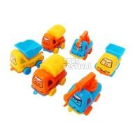 Set 6 pcs Pullback Mainan Mobil Cartoon Truck Conctruction