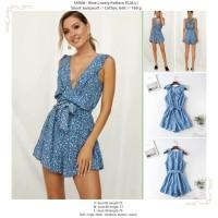 54928 - Blue Lovely Pattern (S,M,L) - Short Jumpsuit