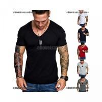 Pendek Warna T-Shirt Slim Polos Fit untuk Casual Pria Kaos V-Neck Leng