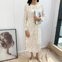 Musim Semi Polka Dot Cetak Lipit Gaun Wanita Korea Lengan Panjang