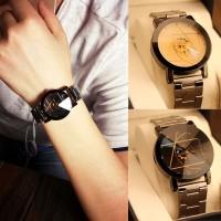 Jam tangan pasangan baja kasual pria dan wanita sabuk baja
