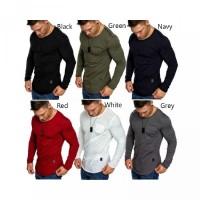 Panjang Fitness T-Shirt Casual Lengan untuk Slim Polos Fit Pria Kaos G