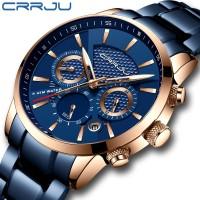 Crrju Pria Bisnis Fashion Biru Chronograph Stianless Steel Jam