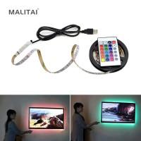 1Pcs DC 5V USB Power Supply Dekorasi RGB LED Strip Lampu Lampu Pita