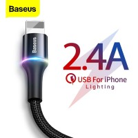 BASEUS LED USB Kabel untuk iPhone 11 Pro XS Max X XR 8 7 6 6S 5 5S 5