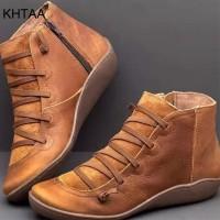 Wanita PU Kulit Sepatu Bot Wanita Musim Gugur Musim Dingin Cross
