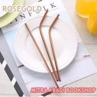 Sedotan Stainless Steel Straw Ramah Lingkungan ROSEGOLD - Lengkung