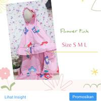 mukenah anak katun size s 1-2tahun • flower pink