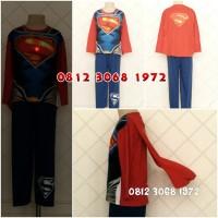 Baju Kostum Anak Karakter Superhero SUPERMAN Led Kaos Lampu 8-11 Tahun