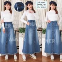 Rok Panjang Muslim Kancing Jeans Denim Bawahan Wanita Girl Women Blue