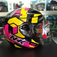 HELM HALF FACE NHK R6 AIR FIT PINK YELLOW