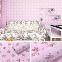wallpaper stiker dinding motif bunga kecil dasar pink