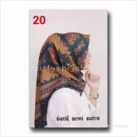 Jilbab Batik Semi sutra / KAIN SUTRA / BENHUR COKLAT