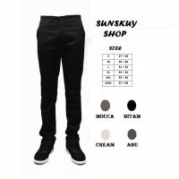 Celana chino jeans panjang pria warna hitam/mocca/cream/abu murah