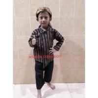 SETELAN BAJU Surjan / Lurik Anak + BLANGKON Solo ( Size 0, S, M )